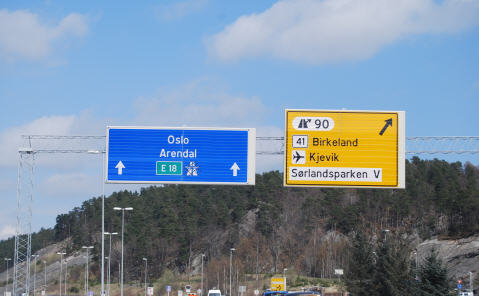Kristiansand Norway road sign